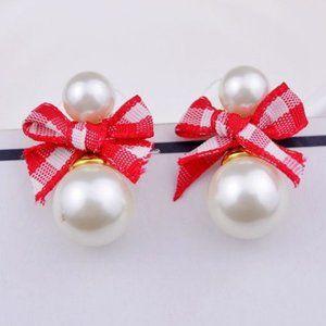 Kate Spade Plaid Bow Pearl Red Earrings